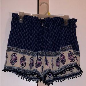 patterned boho shorts